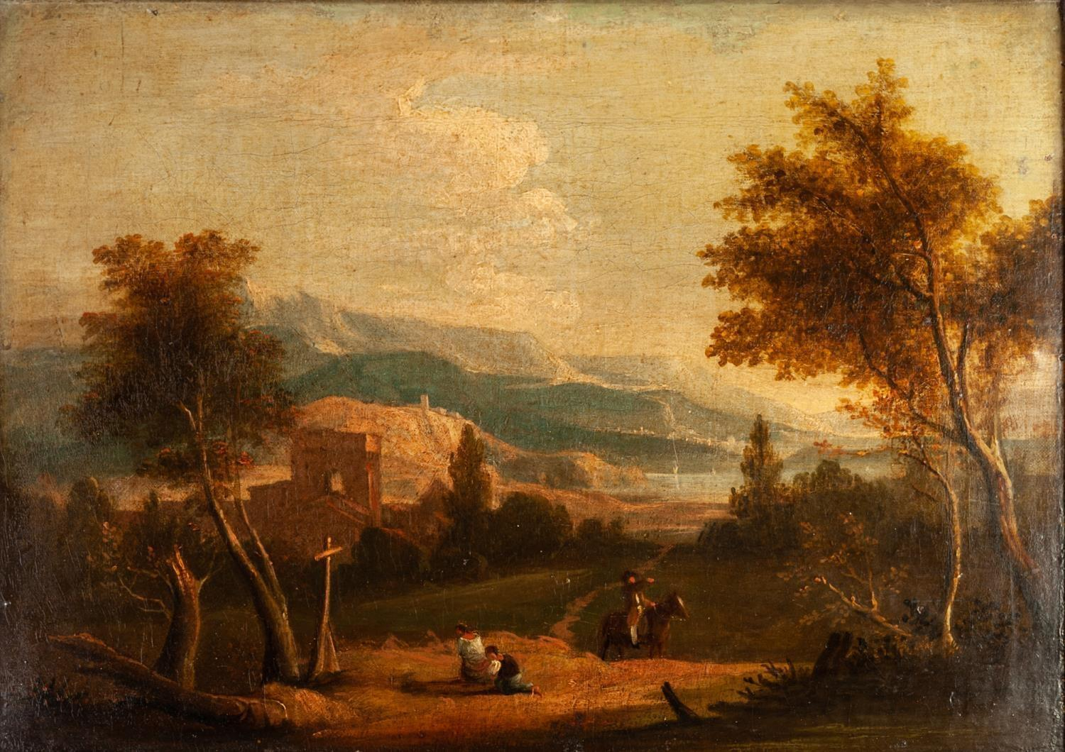 Lot 231 - CIRCLE OF RICHARD WILSON (1714 - 1782) OIL PAINTING ON RE-LINED CANVAS An Italianate landscape