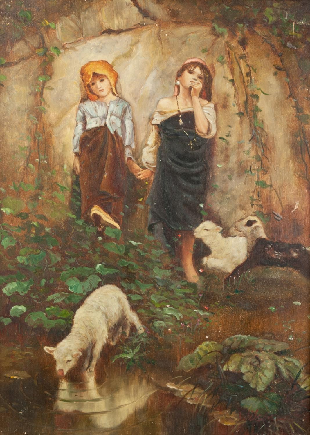 Lot 252 - FROM THE ORIGINAL, MID 20th CENTURY OIL PAINTING ON PANEL Two children by a pond with lambs, one