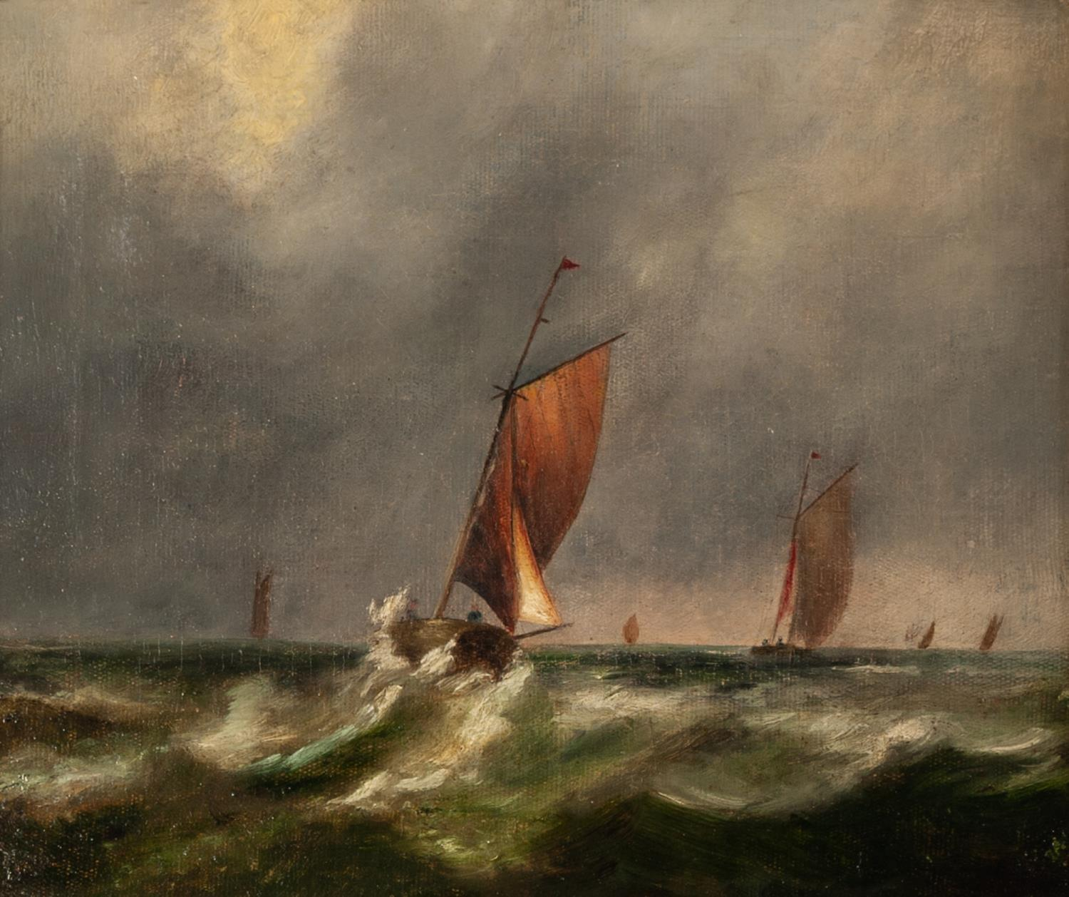 Lot 264 - UNATTRIBUTED (NINETEENTH CENTURY ENGLISH SCHOOL) OIL PAINTING ON CANVAS Small sailing vessels in