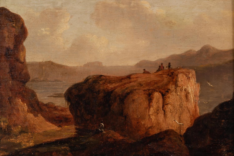 Lot 263 - UNATTRIBUTED (NINETEENTH CENTURY IRISH SCHOOL) OIL PAINTING LAID ON BOARD Figures in a mountainous