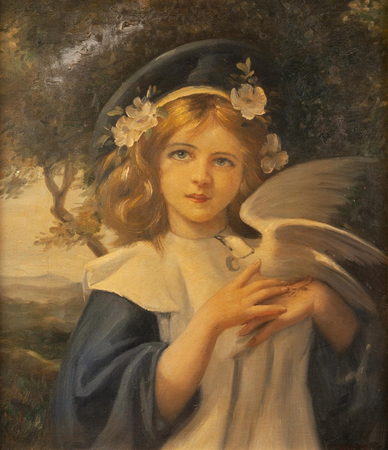 Lot 253 - FROM THE ORIGINAL, MID 20th CENTURY OIL PAINTING ON PANEL Mother and child feeding doves by flight