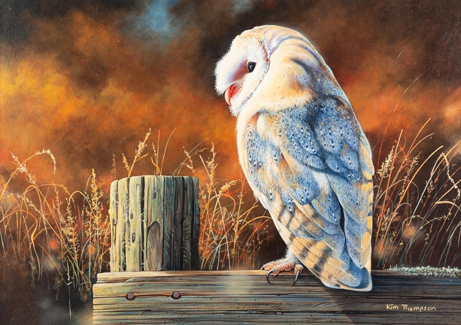 """Lot 281 - KIM THOMPSON (1963) ACRYLIC ON BOARD Owl on a fence Signed lower right 11"""" x 15 3/4"""" (28 x 40cm)"""