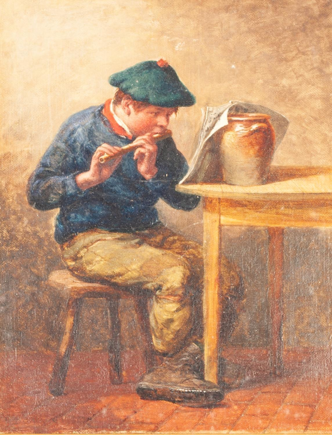 Lot 243 - WILLIAM BROMLEY (fl. 1835-88) OIL PAINTING ON CANVAS A Rustic interior with a young boy sat at the