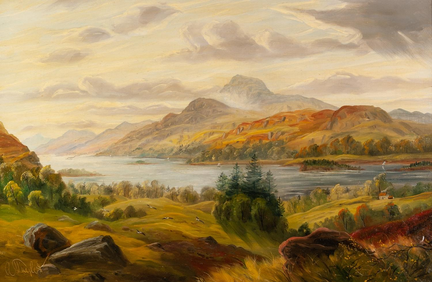 Lot 277 - A. Taylor (late 19th/early 20th century) Oil on canvas View of Loch Lomond with Ben Lomond in the
