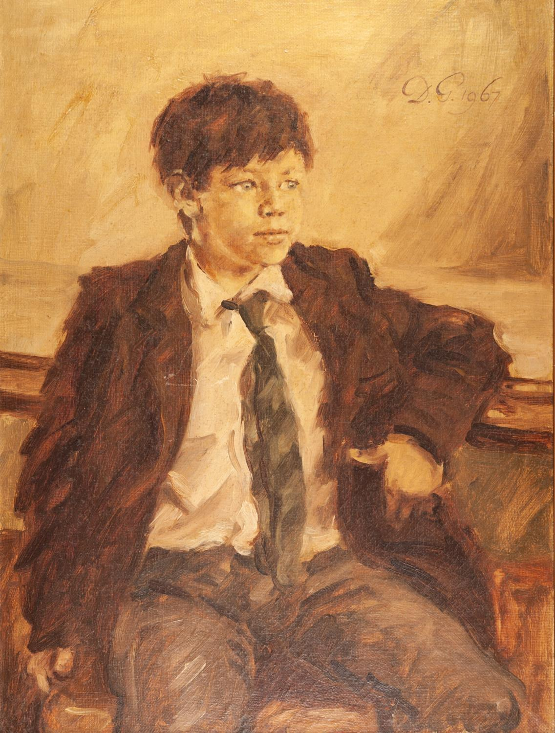 Lot 278 - DAVID GRIFFITHS (b.1939) OIL PAINTING ON CANVAS Three quarter length portrait of a seated boy