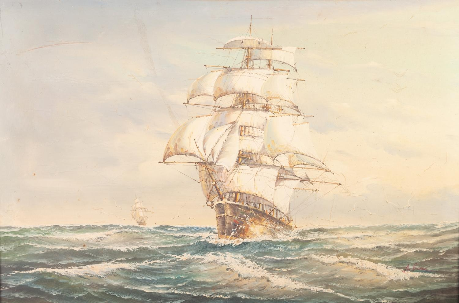 Lot 275 - Attributed to ROY CROSS OIL PAINTING ON CANVAS Two Tea Clippers racing under full sail on a windy