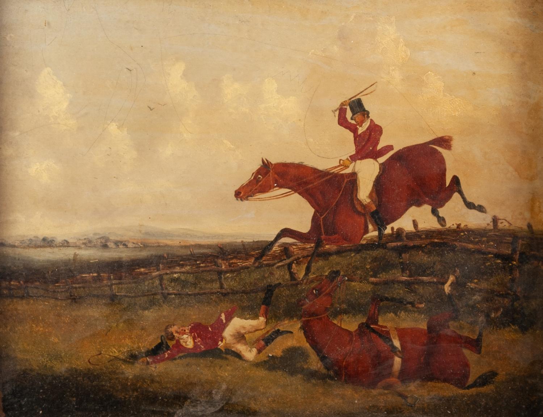 Lot 229 - UNATTRIBUTED, (NINETEENTH CENTURY, ENGLISH SCHOOL) PAIR OF OIL PAINTINGS ON BOARD Equestrian hunting