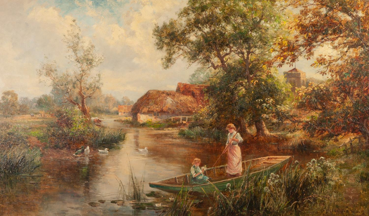 Lot 232 - ERNEST CHARLES WALBOURN (1872 - 1927) OIL PAINTING ON CANVAS River landscape with a mother and child