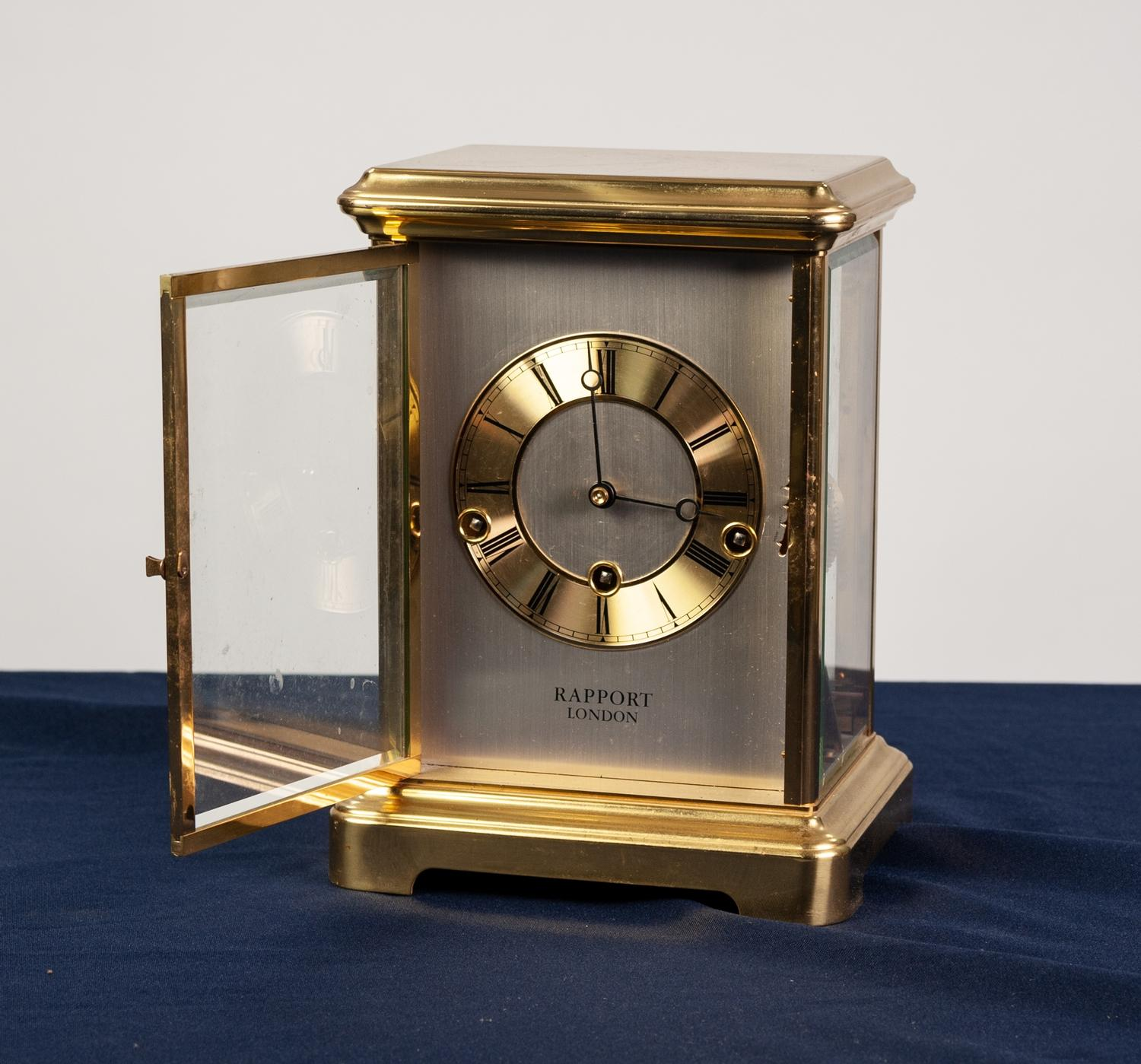Lot 17 - MODERN ?RAPPORT, LONDON? SPRING DRIVEN BRASS CASED FOUR GLASS MANTLE LOCK, of typical form, with