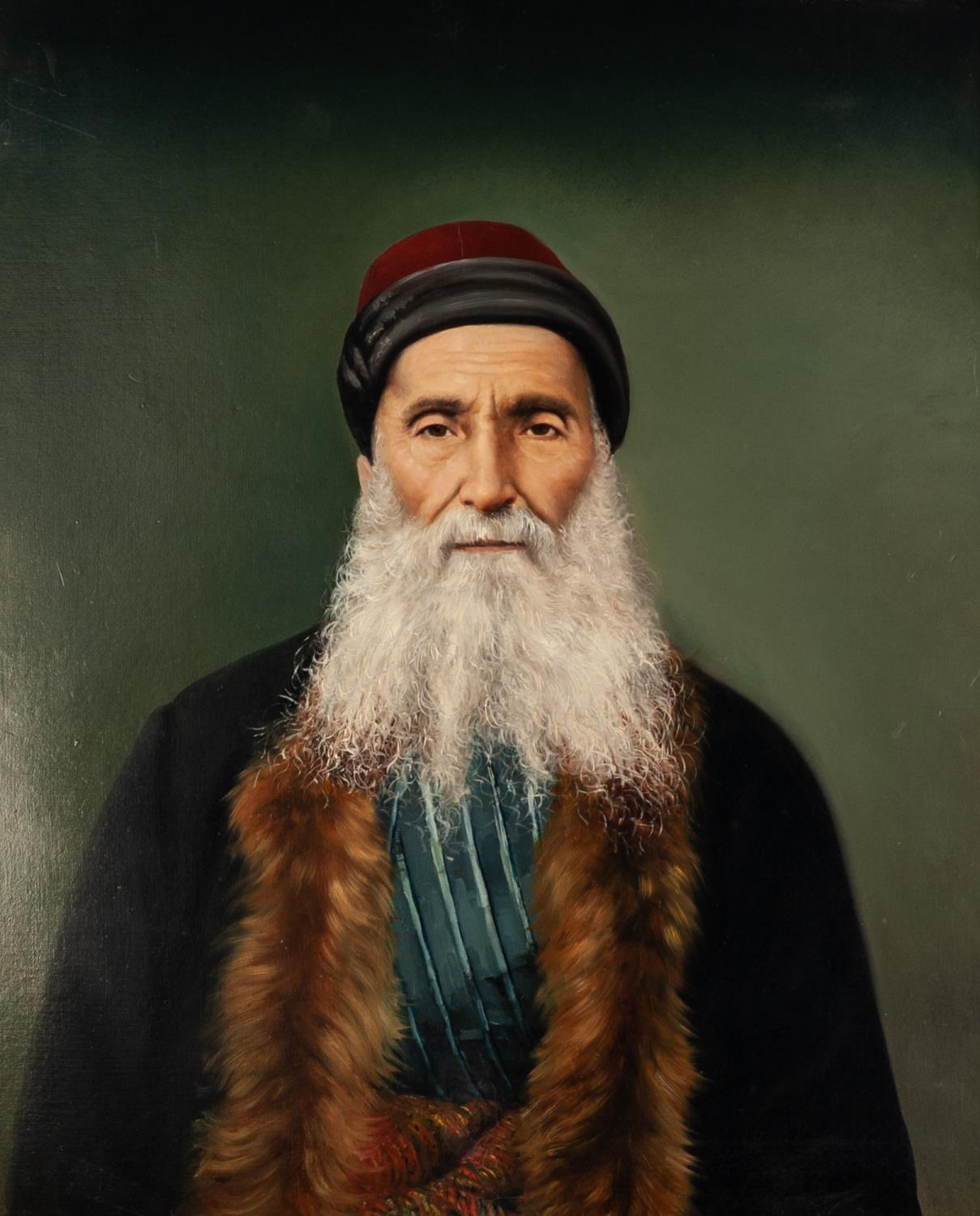 Lot 246 - STYLE OF CHARLES SPENCELAYH OIL PAINTING ON RE-LINED CANVAS A portrait of Nissim Levy Bairalli (b.