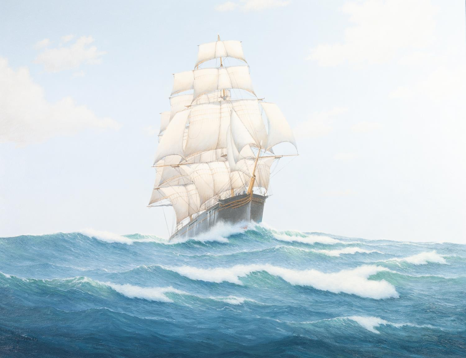 "Lot 234 - WILLIAM J POPHAM (20th CENTURY) OIL PAINTING ON CANVAS ""Rainbow"" a clipper sailing ship in full"