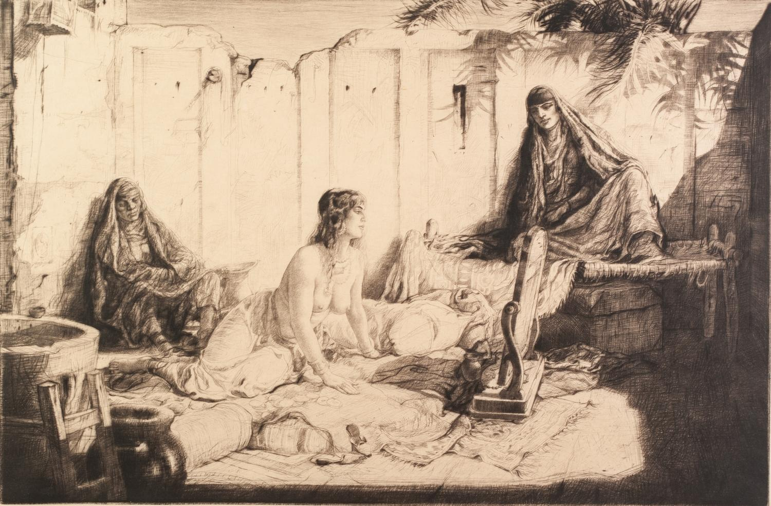 Lot 323 - CHARLES WILLIAM CAIN ARTIST SIGNED DRY POINT ETCHING 'On a Baghdad Roof' Signed in pencil and