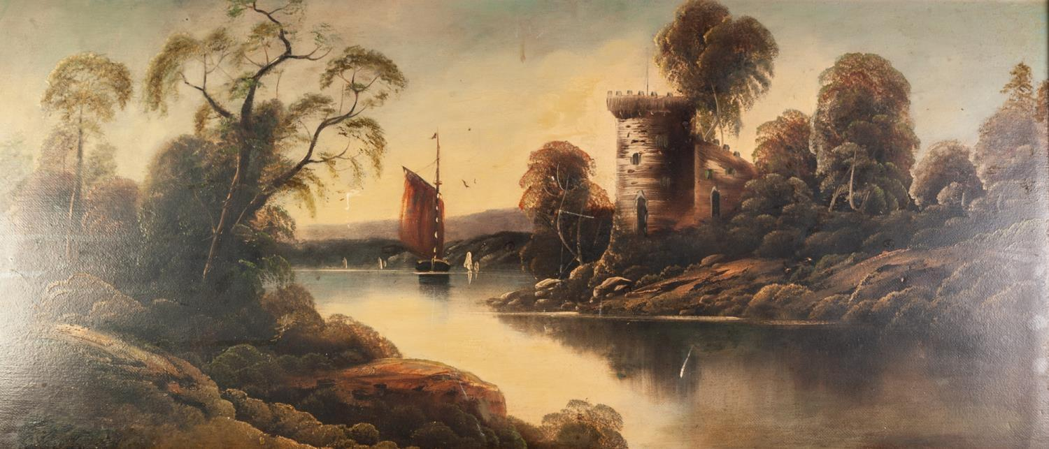 Lot 272 - UNATTRIBUTED (LATE NINETEENTH/ EARLY TWENTIETH CENTURY) OIL PAINTING ON BOARD Tranquil lake scene