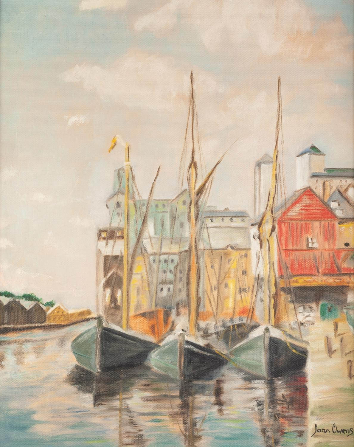 Lot 270 - JOAN OWENS (MODERN) OIL PAINTING ON BOARD ?Ipswich Docks? Signed, titled to label verso 19 ½? x