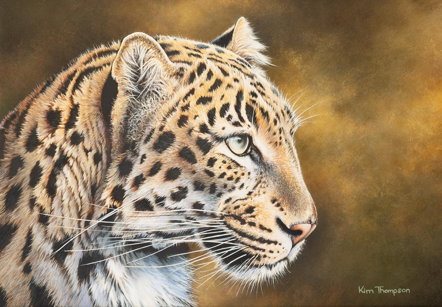 "Lot 280 - KIM THOMPSON (1963) ACRYLIC ON BOARD 'Beauty - Leopard portrait' Signed lower right 7 1/2"" x 11"" (19"