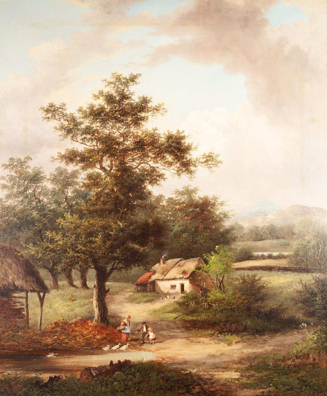 Lot 238 - W YATES (19th CENTURY) OIL PAINTING ON RE-LINED CANVAS Landscape with a mother and children before a