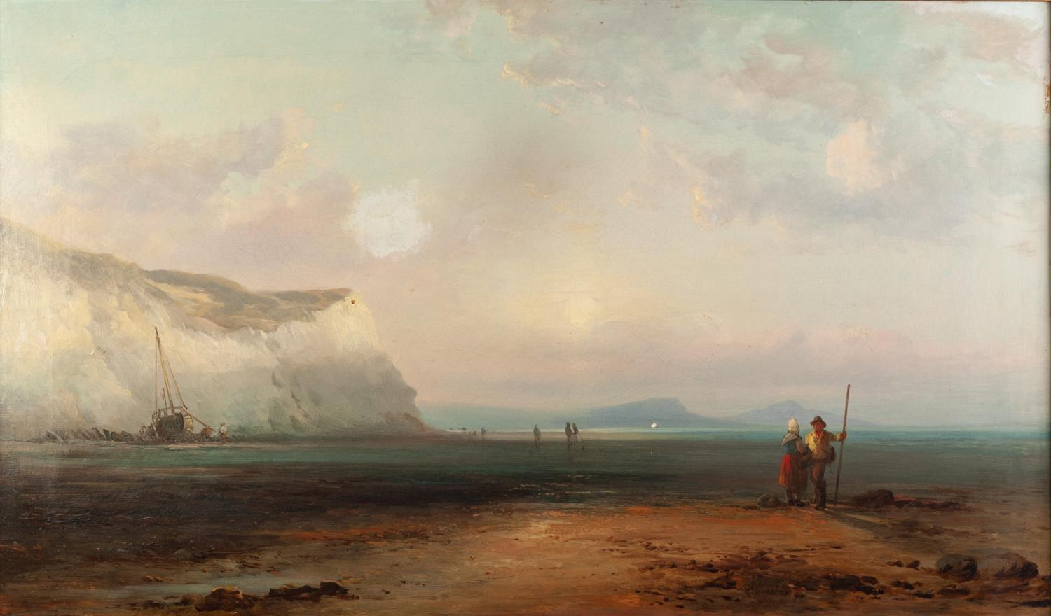 Lot 265 - JAMES WEBB (1825-1895) OIL PAINTING ON CANVAS ?Evening at Cowes? two figures on the foreshore