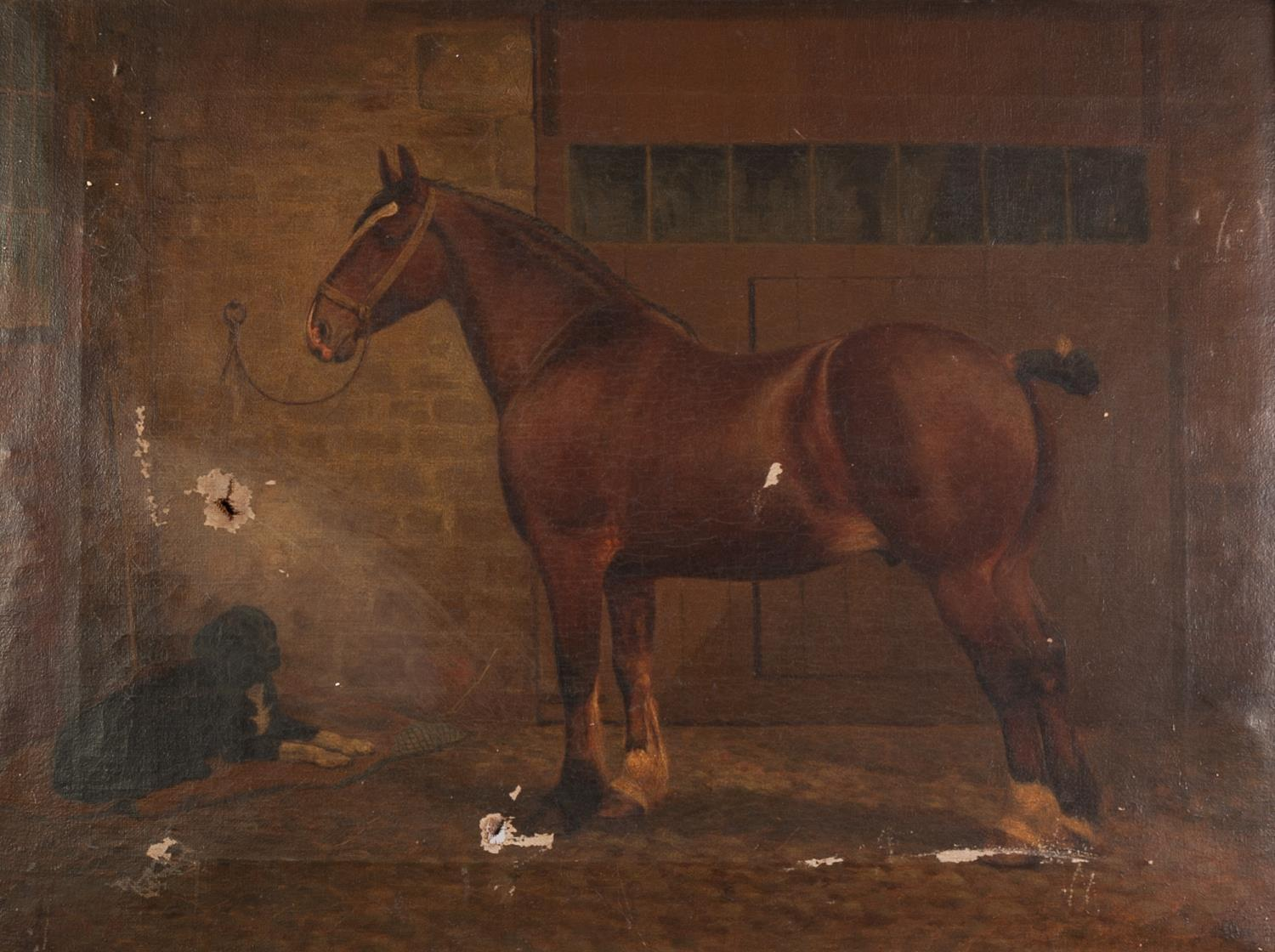 Lot 227 - ?UNATTRIBUTED (TWENTIETH CENTURY) OIL PAINTING ON CANVAS Stable interior with bay horse and dog