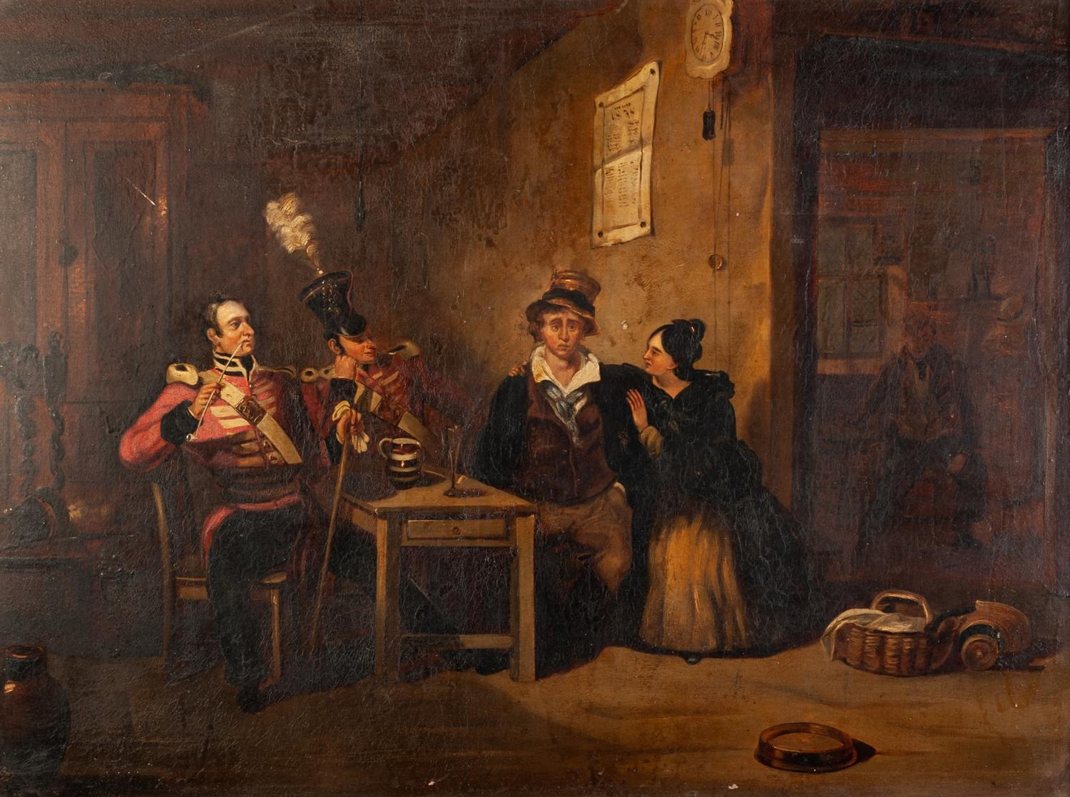 "Lot 226 - ?HENRY LIVERSEEGE (1803 - 1832) OIL PAINTING ON BOARD THE RECRUIT TAKING THE KINGS SHILLING 18"" x"