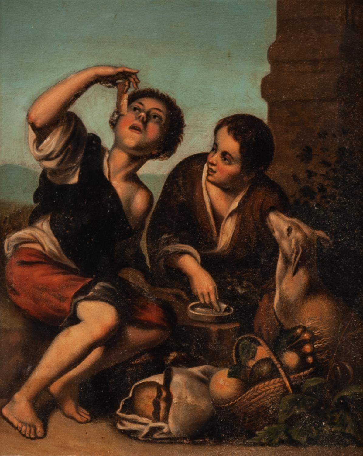 Lot 262 - AFTER BARTOLEME ESTEBAN MURILLO PAIR OF OIL PAINTINGS ?The Pie Eaters? ?The Wine Drinkers?