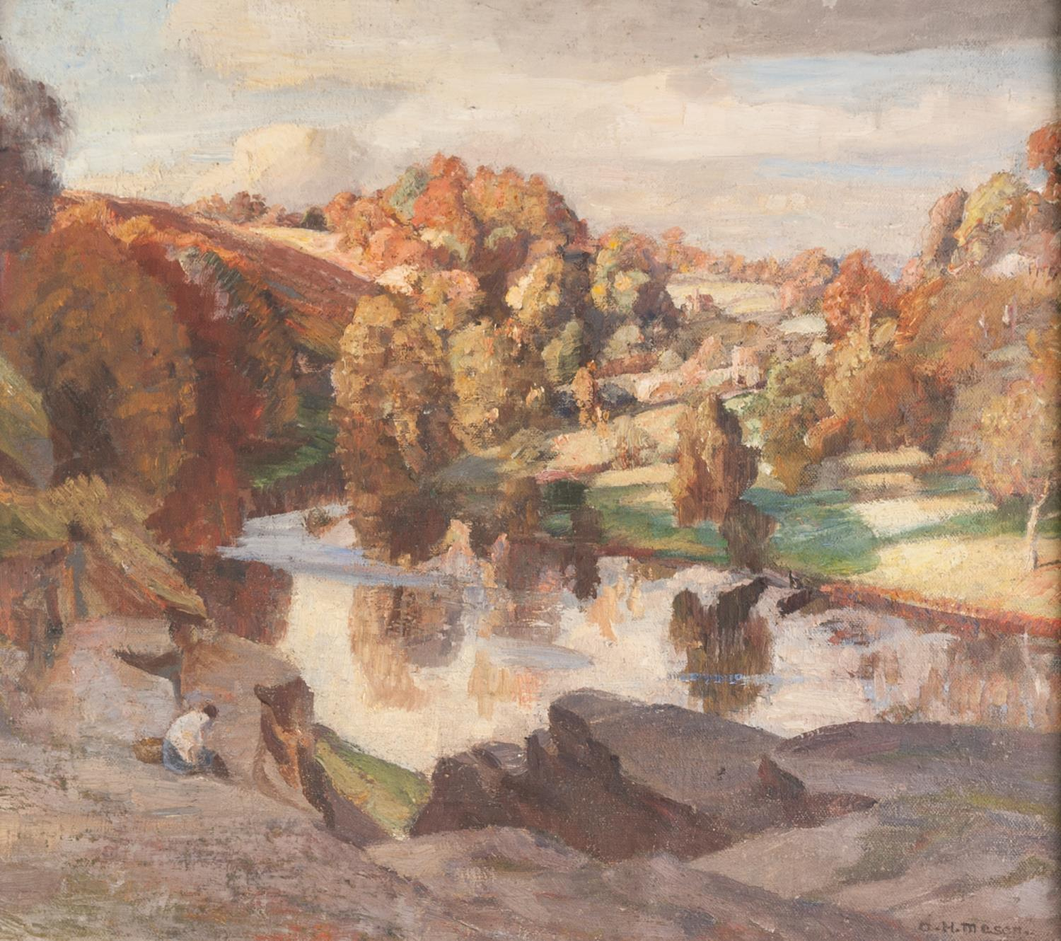 Lot 257 - ARNOLD HENRY MASON (1885-1963) OIL PAINTING ON BOARD Tranquil river landscape Signed 15 ½? x 17? (