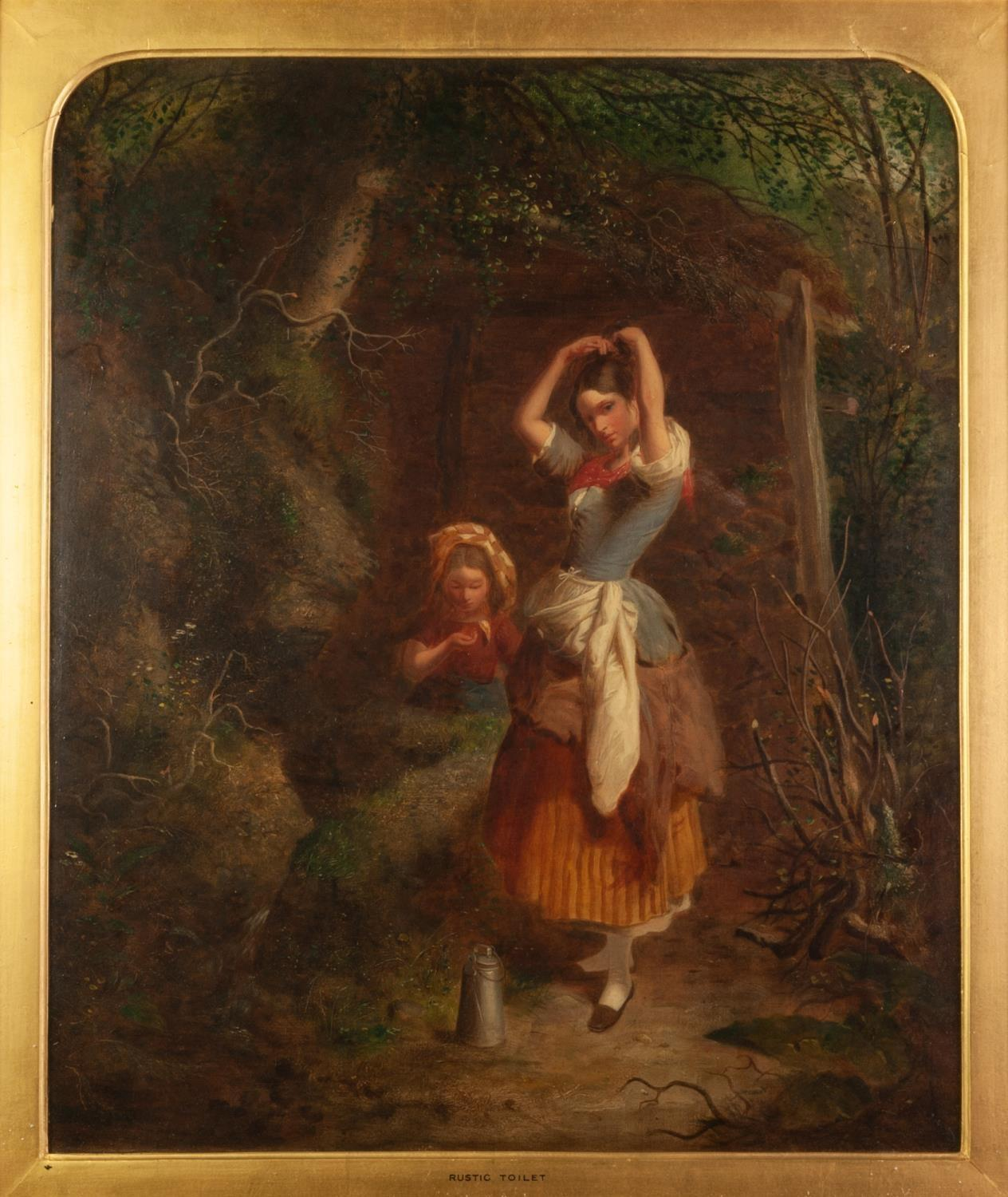 Lot 267 - UNATTRIBUTED (VICTORIAN SCHOOL) OIL PAINTING ON CANVAS ?Rustic Toilet? two girl on a woodland path