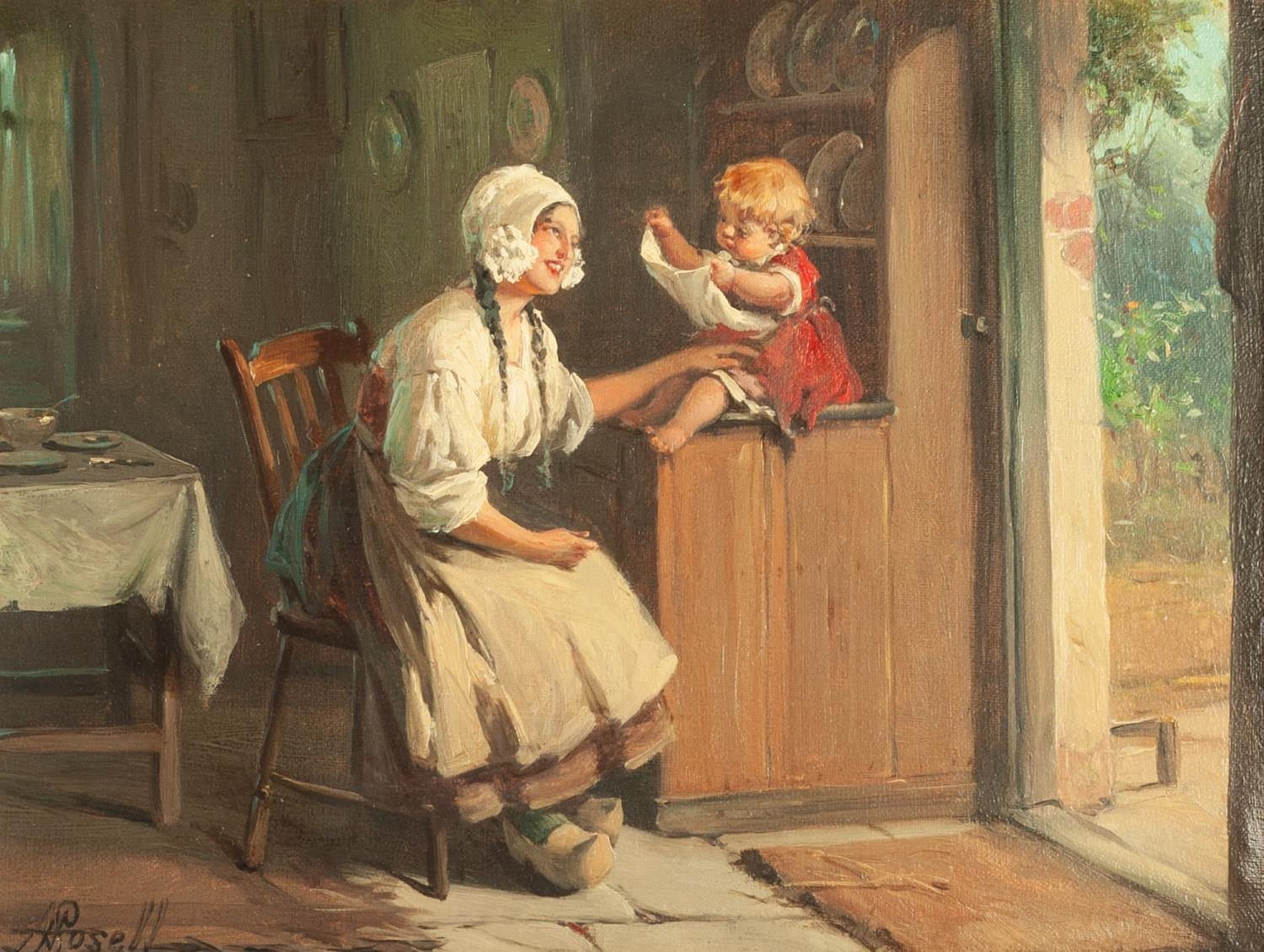 """Lot 240 - ALEXANDER ROSELL (1859 - 1922) OIL PAINTING ON CANVAS """"Peep-Boo"""", a mother and child in a cottage"""