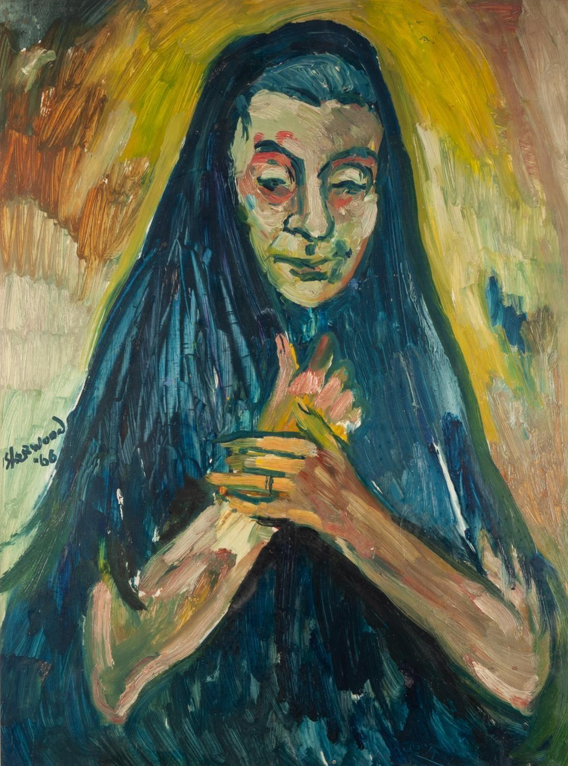 Lot 69 - ?LAWRENCE ISHERWOOD (1917-1988) OIL PAINTING The Wigan Madonna Signed and dated (19)66 23 ½? x 17 ½?