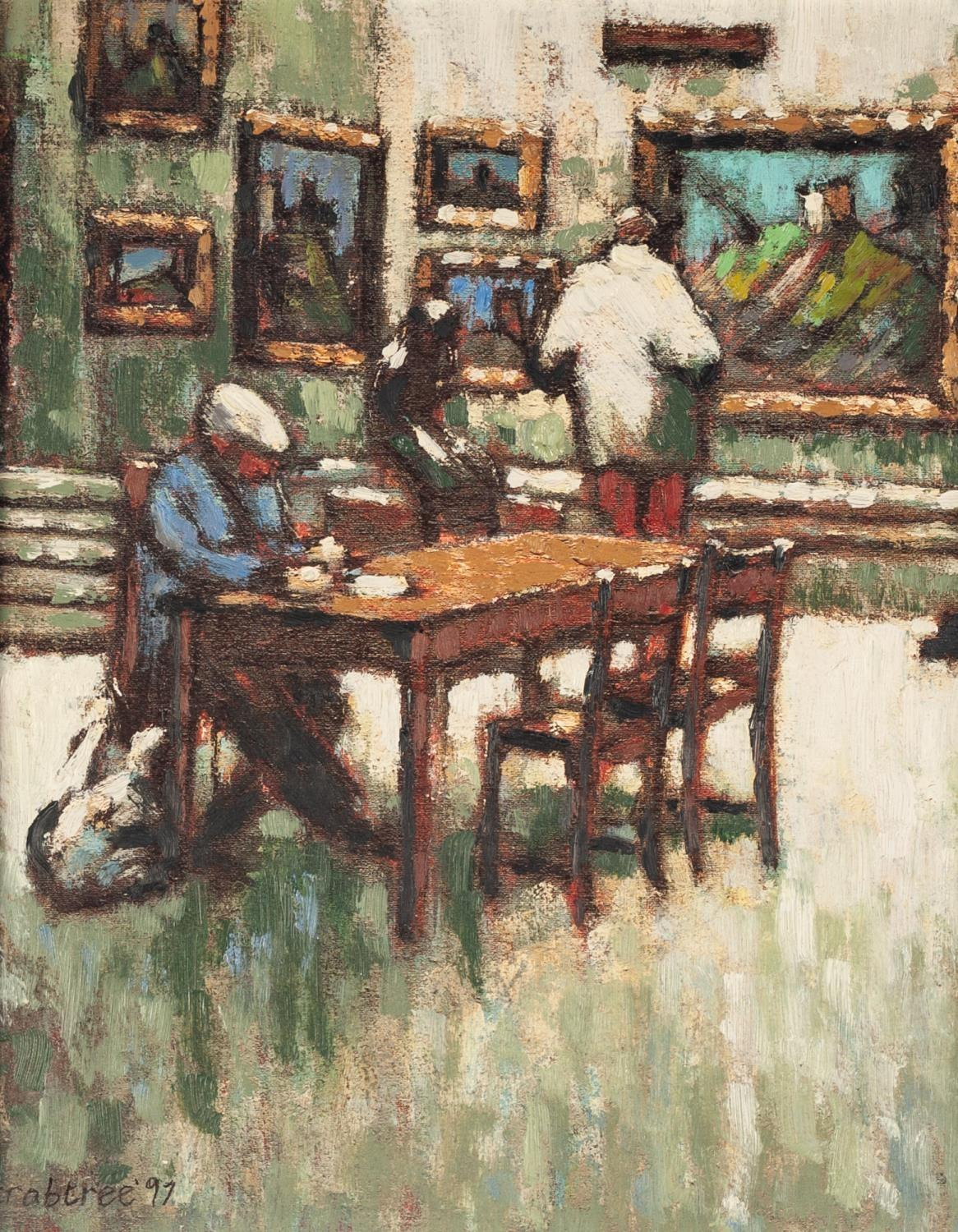 Lot 30 - CRABTREE (TWENTIETH CENTURY) OIL ON BOARD Gallery interior with a man sat at a table with a dog at