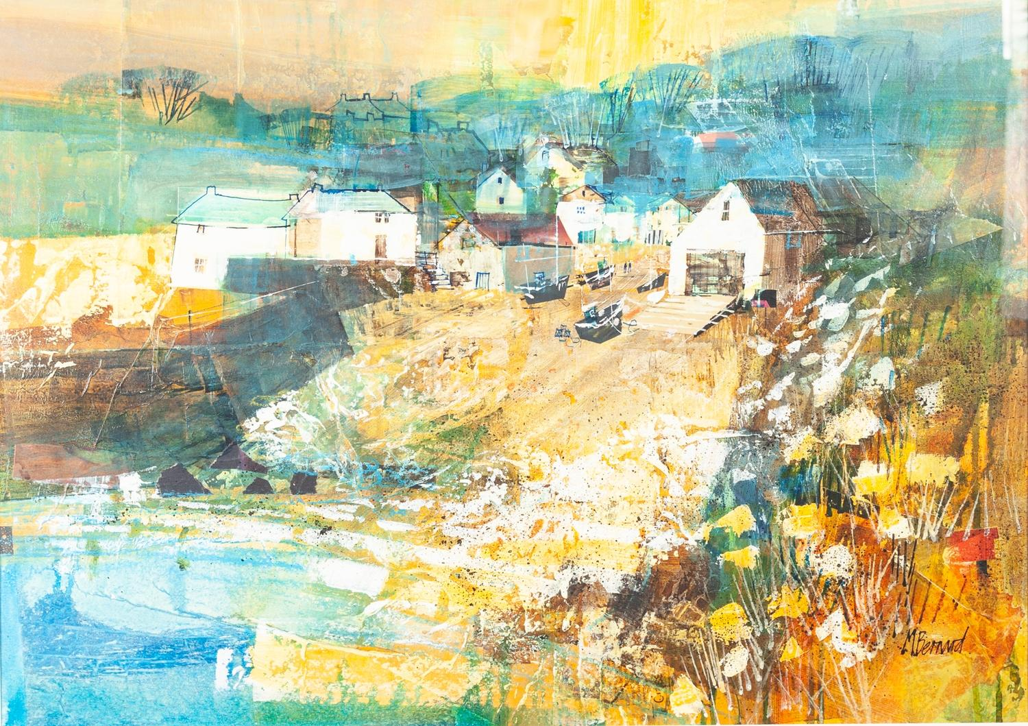 """Lot 19 - MIKE BERNARD R.I. (1957) MIXED MEDIA ON BOARD """"CADGWITH, CORNWALL"""" signed lower right and"""