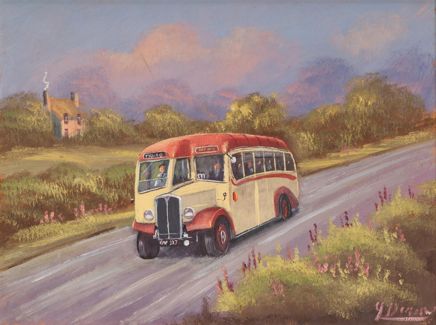 Lot 36 - JAMES DOWNIE (b.1949) OIL ON BOARD The Truro Bus Signed 11 ¾? x 15 ½? (29.8cm x 39.4cm)