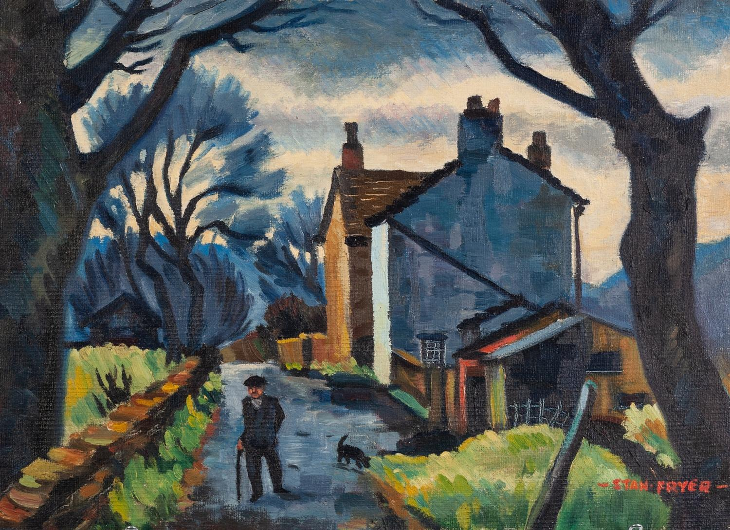 Lot 40 - STANLEY FRYER (1906 - 1983) OIL PAINTING ON BOARD 'Long Lane, Cheshire' Signed lower right, titled