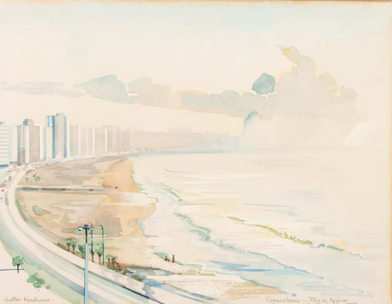 Lot 87 - WALTER KERSHAW (b.1940) WATERCOLOUR ?Copacabana, Pao de Acucar, 1987' Signed and titled 5 ¾? x