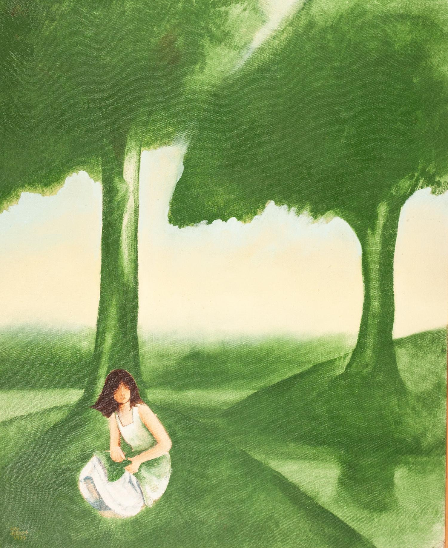 Lot 81 - COLIN JELLICOE (1942-2018) OIL ON CANVAS ?River Rendezvous and Waiting Girl? Signed and dated