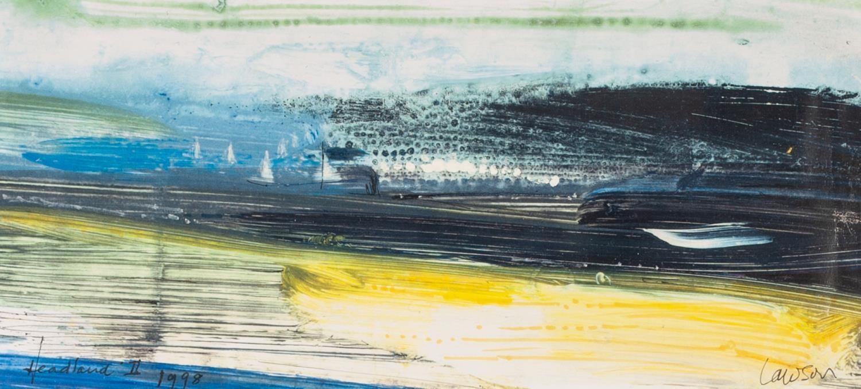 Lot 93 - KENNETH LAWSON (1920 - 2008) ACRYLIC ON PAPER 'Headland II' (near Dartmouth, Devon) Signed lower