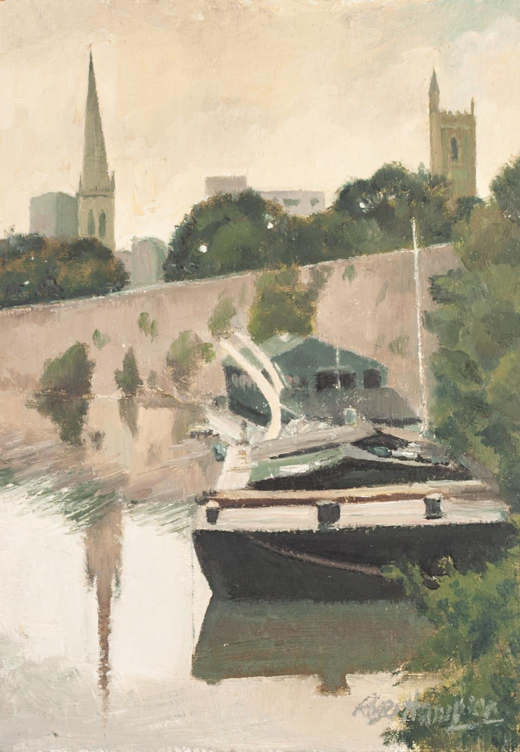Lot 62 - ROGER HAMPSON (1925 - 1996) OIL PAINTING ON BOARD 'Floating Harbour, Bristol' Signed, titled and