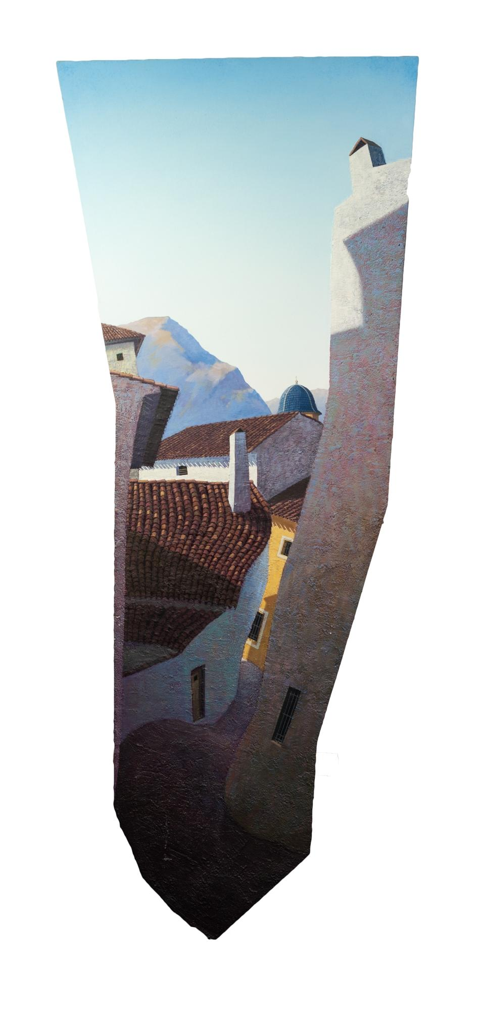 Lot 32 - PAUL CRITCHLEY (b.1960) OIL ON SHAPED BOARD ?Mountain Village? Signed and titled verso 70? x 28? (