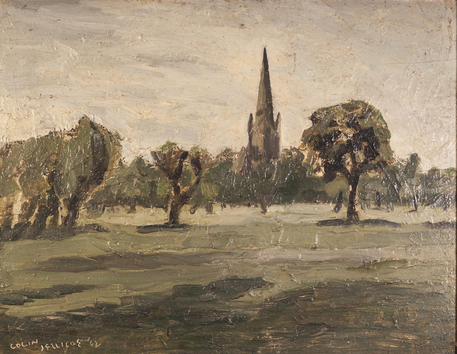 Lot 79 - COLIN JELLICOE (1942-2018) OIL ON BOARD ?Platt Fields, Manchester? Signed and dated (19)92 18 ½? x