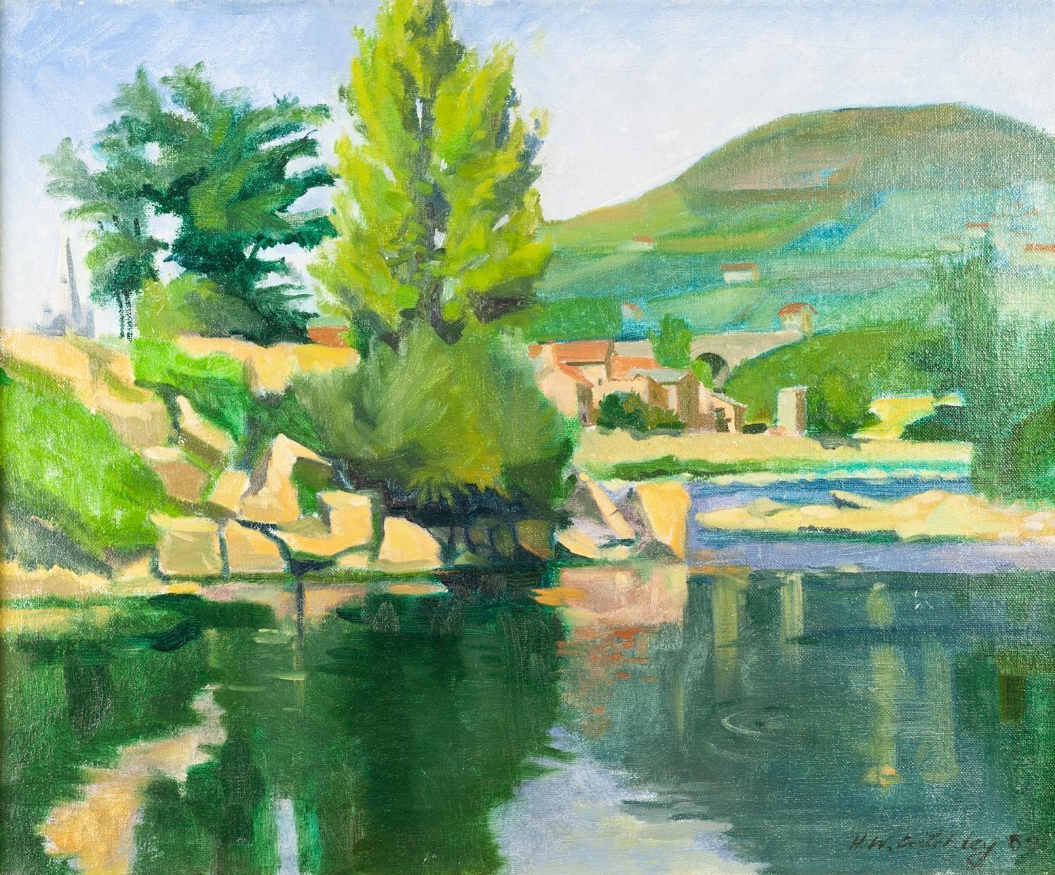 Lot 31 - H. W. CRITCHLEY OIL PAINTING ON CANVAS A plein-air Continental river landscape with a church