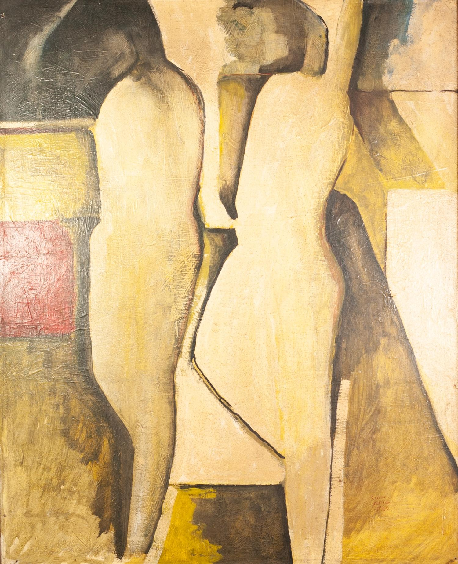 Lot 80 - COLIN JELLICOE (1942-2018) OIL ON BOARD Abstract- two figures Signed and dated 1966 32? x 25 ½? (
