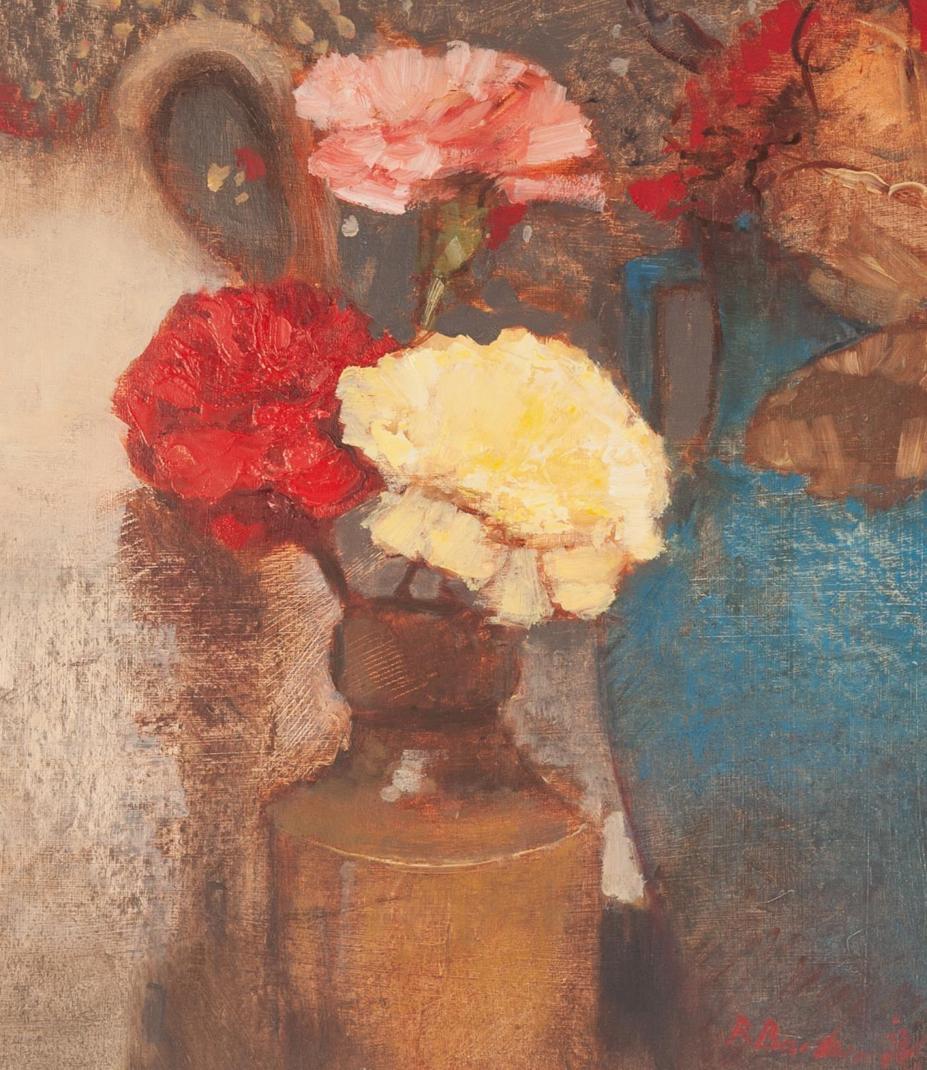 Lot 9 - BOHUSLAV BARLOW (b. 1947) OIL ON ARTIST BOARD ?Still Life with Carnations? Signed and dated (19)