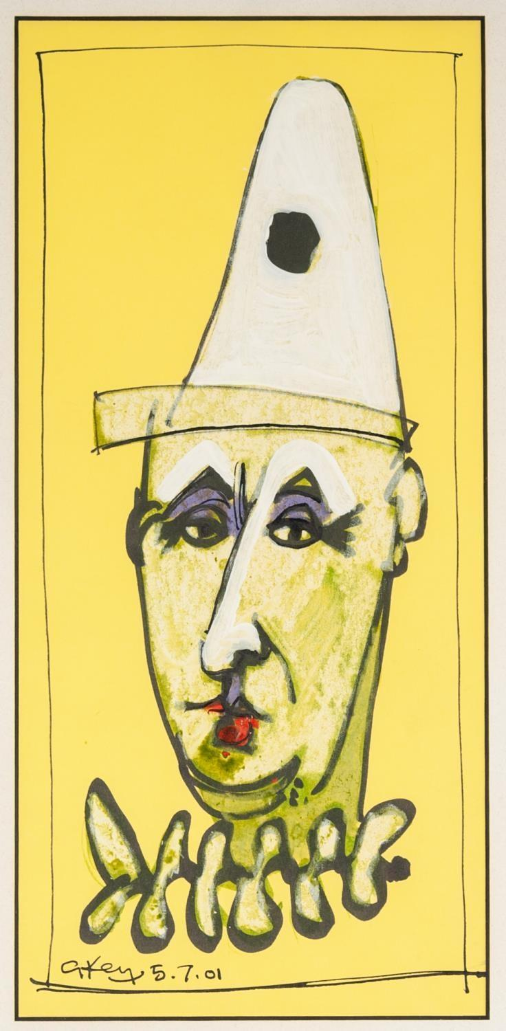 Lot 88 - ?GEOFFREY KEY (b. 1941) MIXED MEDIA ON YELLOW PAPER Head of a clown Signed and dated 5.7.01 11? x 5?