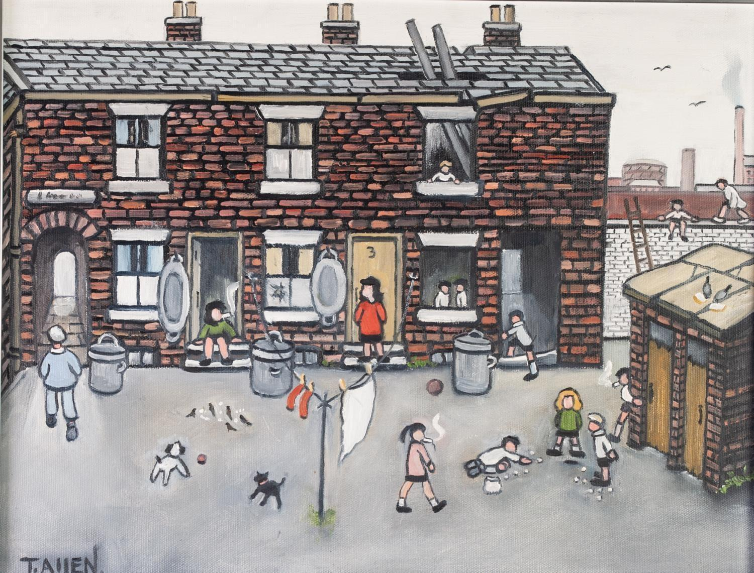 "Lot 1 - TERRY ALLEN (Stockport) OIL PAINTING ON CANVAS 'Foys Entry, Stockport' Signed lower left 13 1/4"" x"