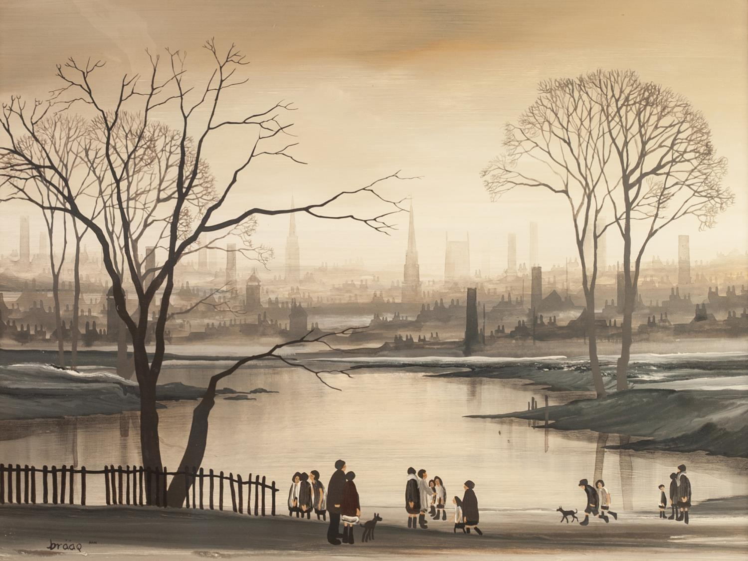 Lot 21 - ?BRIAN SHIELDS (BRAAQ) (1951 - 1997) OIL PAINTING ON BOARD Northern city scape in winter with