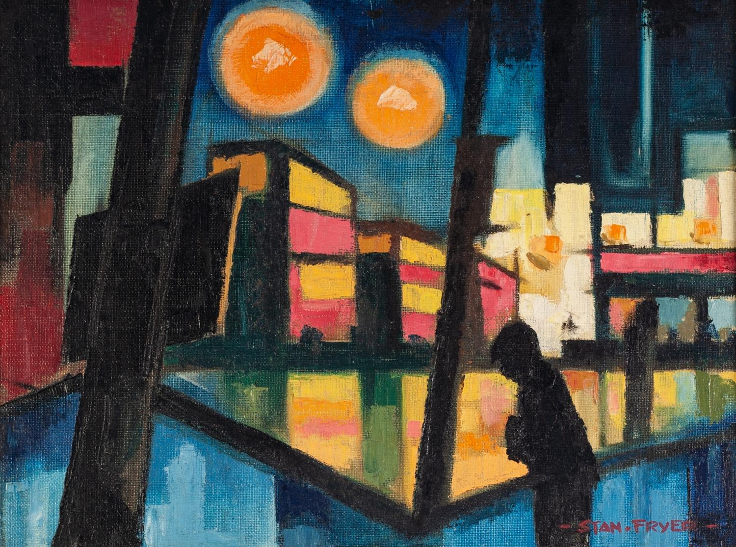 Lot 39 - STANLEY FRYER (1906 - 1983) OIL PAINTING ON BOARD 'Buses in Manchester Piccadilly Gardens' Signed