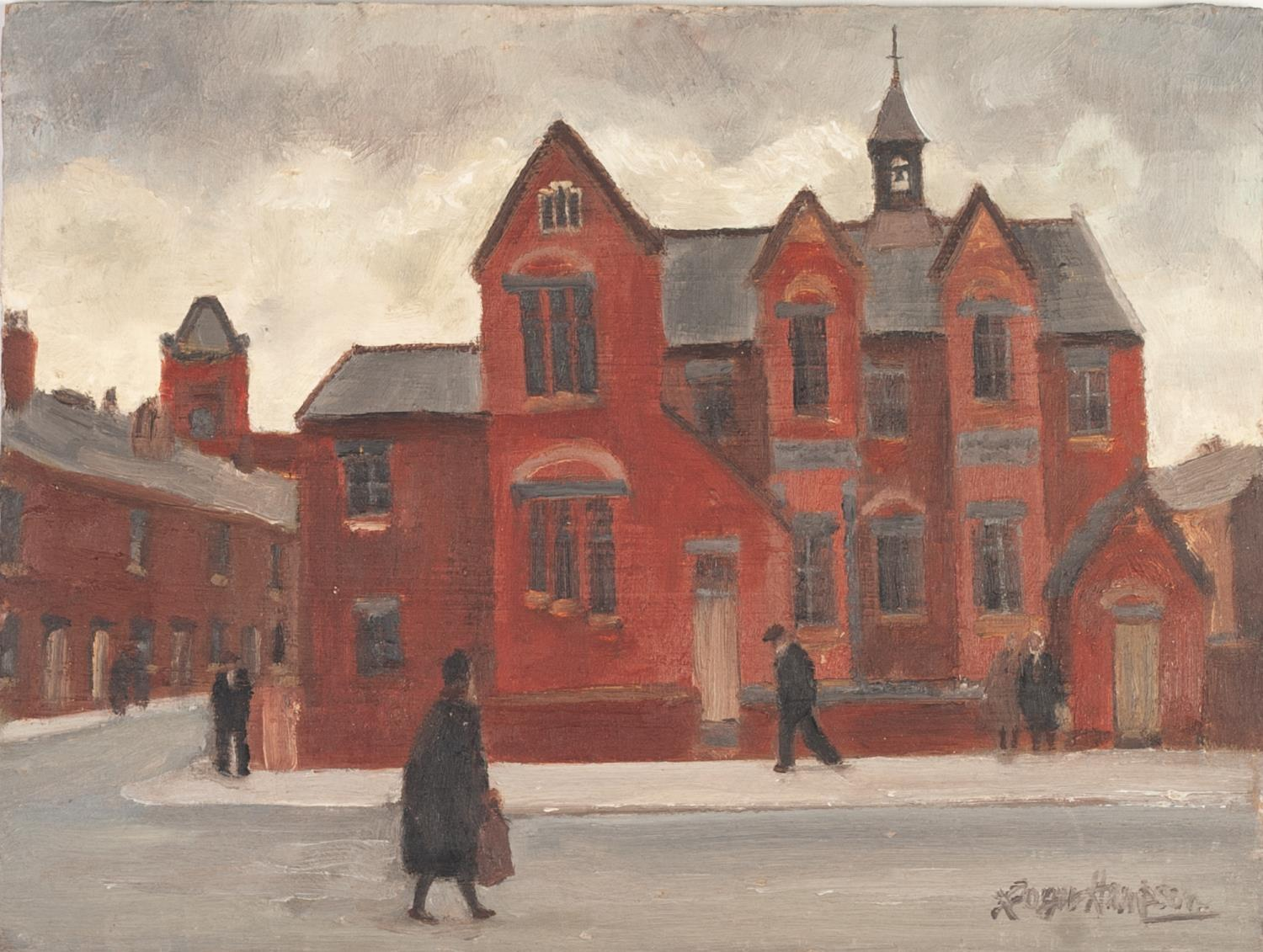 Lot 63 - ROGER HAMPSON (1925 - 1996) OIL PAINTING ON BOARD 'Jubilee Schools, Bolton' Signed, titled and