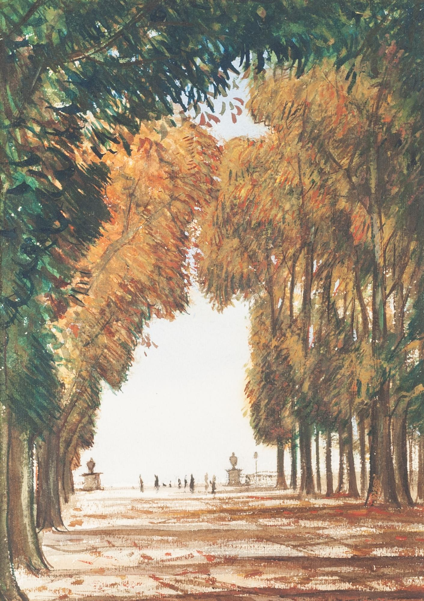 Lot 116 - MODERN SCHOOL WATERCOLOUR Continental scene with a promenade between an avenue of trees,