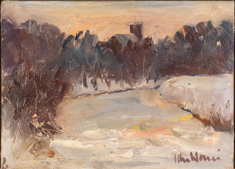 Lot 119 - IAN NORRIS (TWENTIETH/ TWENTY FIRST CENTURY) OIL ON BOARD ?Frozen River II, Ribble Valley, 2010?