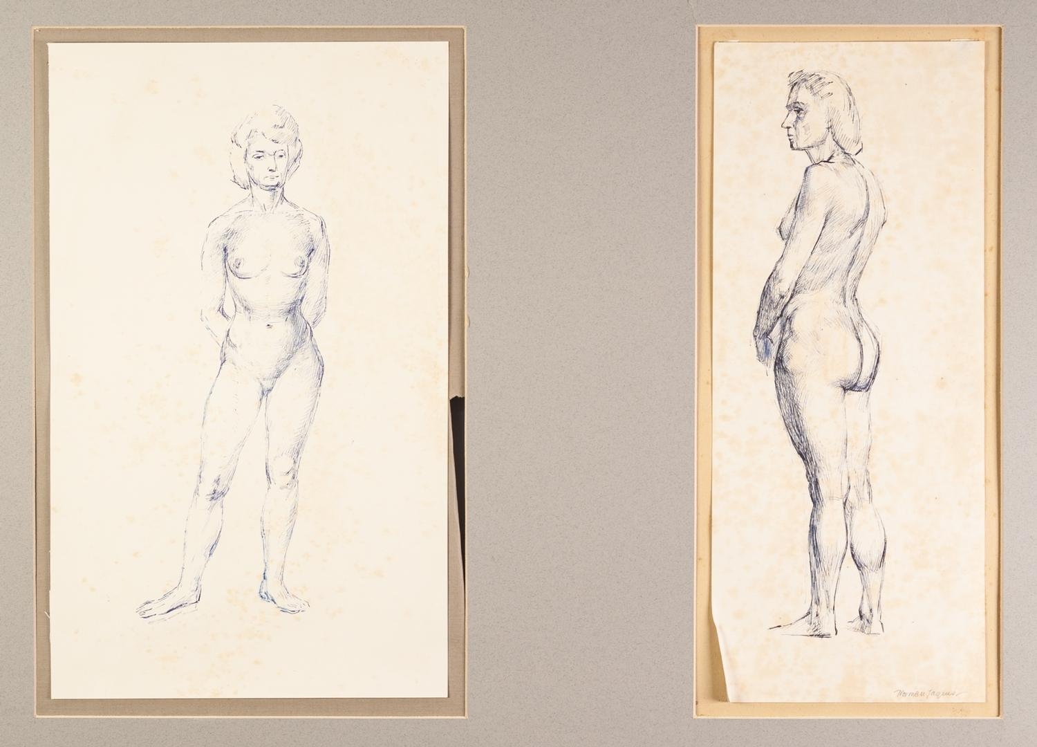 Lot 74 - NORMAN C JAQUES (1926-2014) TWO BLUE PEN DRAWINGS Standing female nude One signed, 14 ¾? X 6? (37.