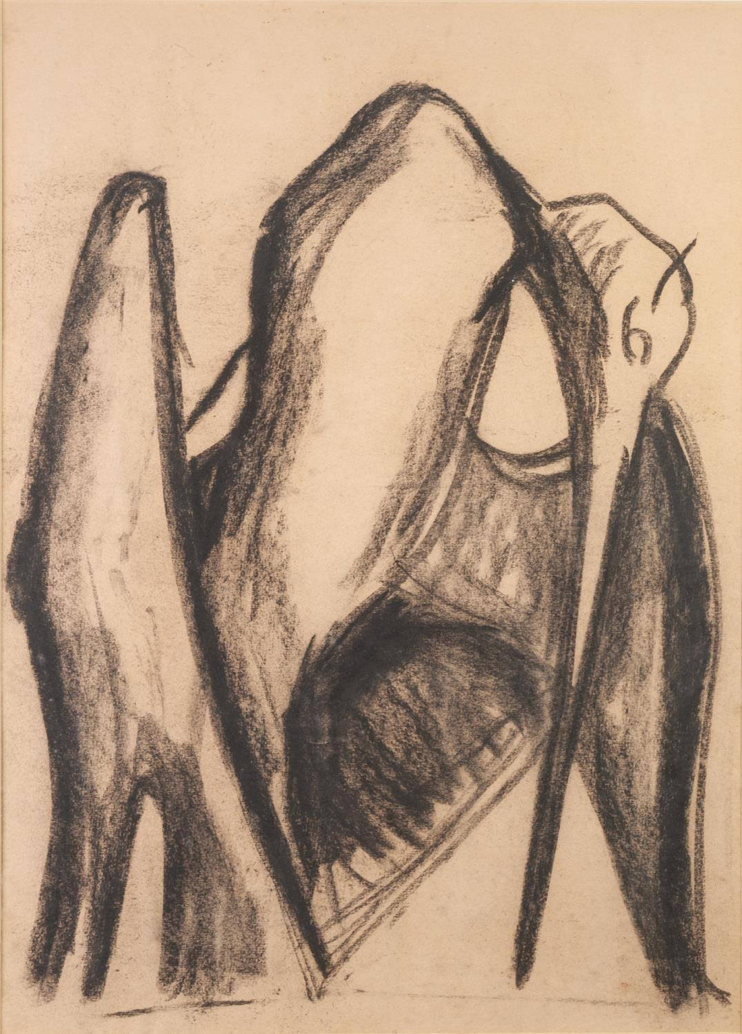 "Lot 89 - JONATHON KINGDON (1937) CHARCOAL DRAWING ON BUFF PAPER 'Pelican' Unsigned 23"" x 16 1/2"" (58.5 x"